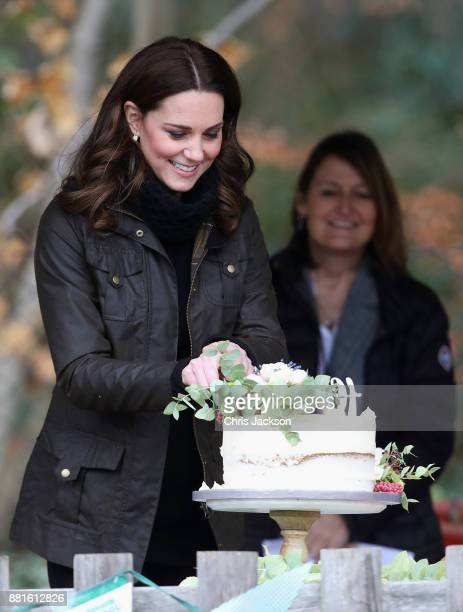 Catherine, Duchess of Cambridge cuts a cake during her visit to the Robin Hood Primary School to celebrate ten years of The Royal Horticultural...
