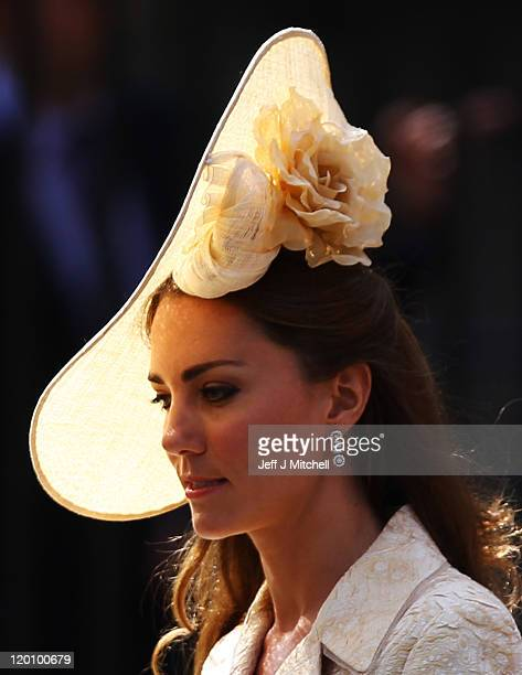 Catherine, Duchess of Cambridge depart after the Royal wedding of Zara Phillips and Mike Tindall at Canongate Kirk on July 30, 2011 in Edinburgh,...