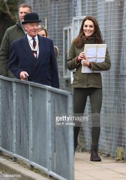 Catherine, Duchess of Cambridge departs after a visit to Islington Community Garden on January 15, 2019 in London, England.