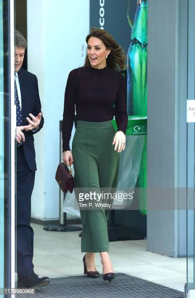 Catherine Duchess of Cambridge departs after a visit to The Angela Marmont Centre For UK Biodiversity at Natural History Museum on October 09 2019 in...