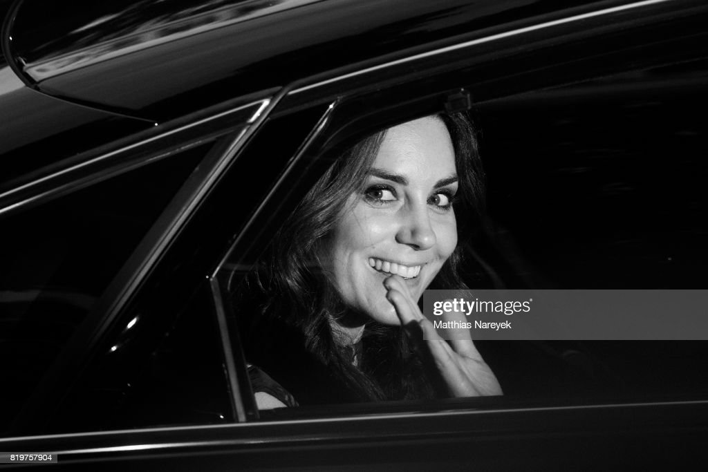 Catherine, Duchess of Cambridge departs after attending a reception with creatives at 'Claerchens Ballhaus' the last original dancehall in Berlin on the second day of their visit to Germany on July 20, 2017 in Berlin, Germany. The royal couple are on a three-day trip to Germany that includes visits to Berlin, Hamburg and Heidelberg.