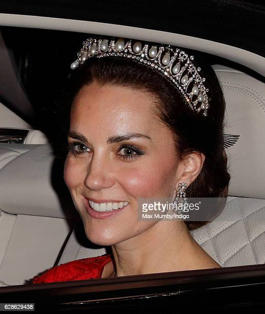 Catherine Duchess of Cambridge departs after attending the annual Diplomatic Reception at Buckingham Palace on December 8 2016 in London England