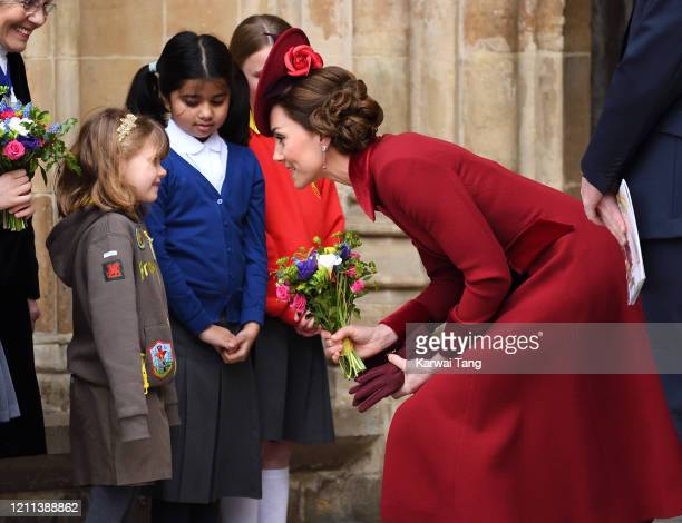 Catherine Duchess of Cambridge departs after attending the Commonwealth Day Service 2020 at Westminster Abbey on March 09 2020 in London England