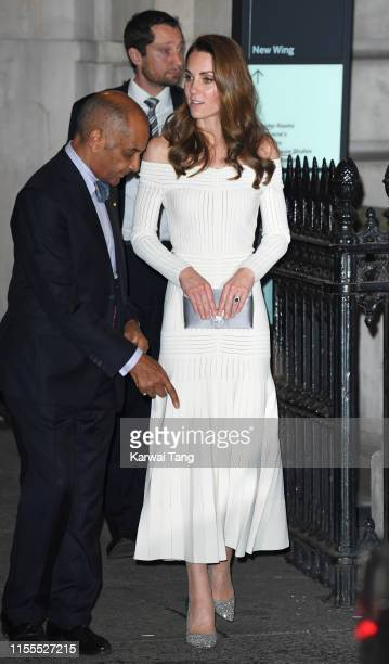 Catherine Duchess of Cambridge departs after attending the first annual gala dinner in recognition of Addiction Awareness Week at Phillips Gallery on...