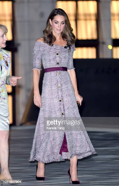 Catherine, Duchess of Cambridge departs after attending the opening of the V&A Photography Centre at Victoria & Albert Museum on October 10, 2018 in...