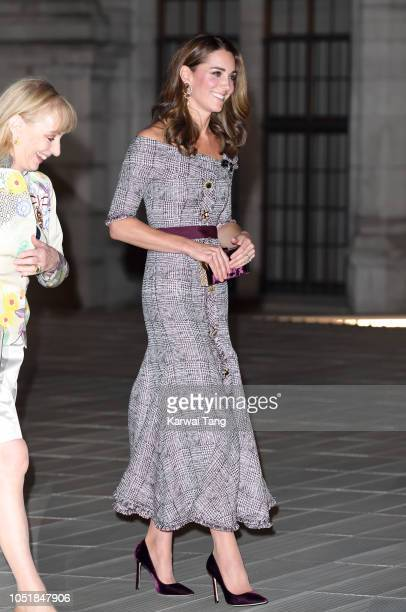 Catherine Duchess of Cambridge departs after attending the opening of the VA Photography Centre at Victoria Albert Museum on October 10 2018 in...