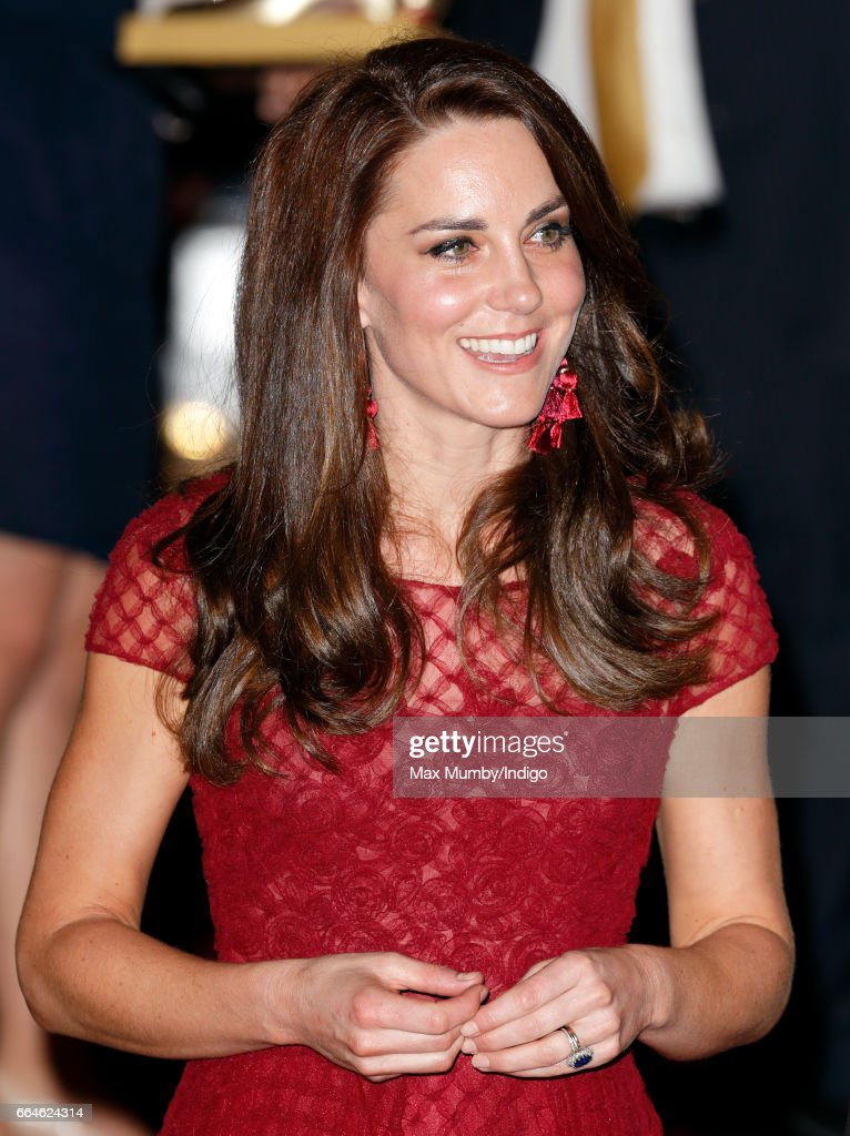Catherine, Duchess of Cambridge departs after attending the opening night of '42nd Street' at the Theatre Royal on April 4, 2017 in London, England. The opening night is a fundraising event for the East Anglia Children's Hospice (EACH) of which the Duchess of Cambridge is Patron.