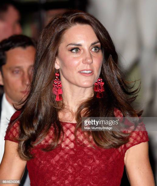 Catherine, Duchess of Cambridge departs after attending the opening night of '42nd Street' at the Theatre Royal on April 4, 2017 in London, England....