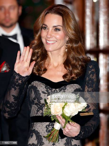 Catherine Duchess of Cambridge departs after attending the Royal Variety Performance at the Palladium Theatre on November 18 2019 in London England
