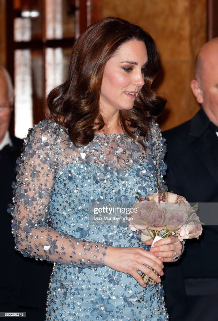 Catherine, Duchess of Cambridge departs after attending the Royal Variety Performance at the Palladium Theatre on November 24, 2017 in London, England.