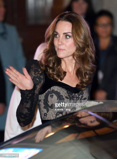 Catherine, Duchess of Cambridge departs after attending the Royal Variety Performance with Prince William, Duke of Cambridge at the London Palladium...