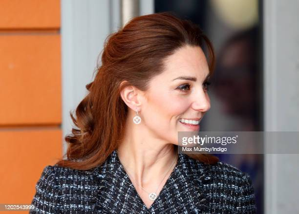 Catherine, Duchess of Cambridge departs after joining a workshop run by the National Portrait Gallery's Hospital Programme at Evelina Children's...