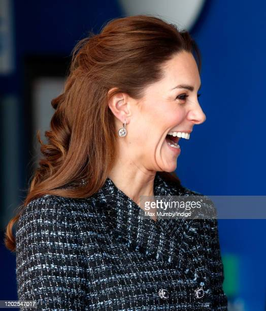 Catherine Duchess of Cambridge departs after joining a workshop run by the National Portrait Gallery's Hospital Programme at Evelina Children's...