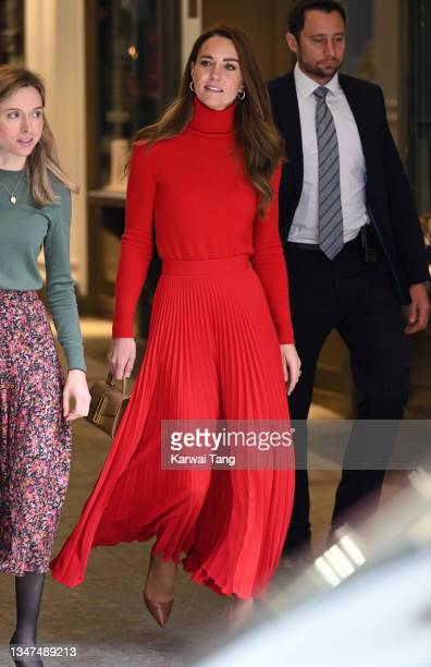 """Catherine, Duchess of Cambridge departs after making a keynote speech to launch """"Taking Action on Addiction"""" campaign at BAFTA on October 19, 2021 in..."""