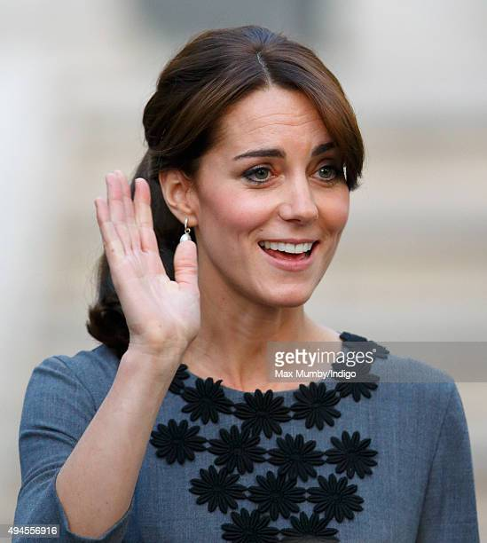 Catherine Duchess of Cambridge departs after meeting children and mentors from Chance UK's Early Intervention Programme at Islington Town Hall on...