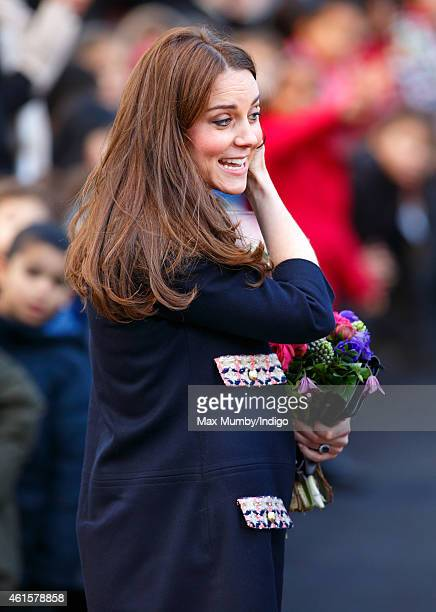 Catherine Duchess of Cambridge departs after officially naming the Clore Art Room at Barlby Primary School on January 15 2015 in London England