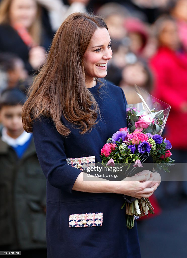 Catherine, Duchess of Cambridge (Royal Patron of The Art Room) departs after officially naming the Clore Art Room at Barlby Primary School on January 15, 2015 in London, England.