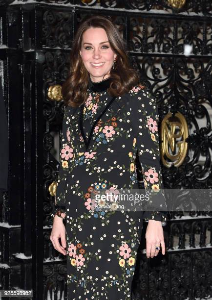 Catherine Duchess of Cambridge departs after viewing the 'Victorian Giants' exhibition at National Portrait Gallery on February 28 2018 in London...