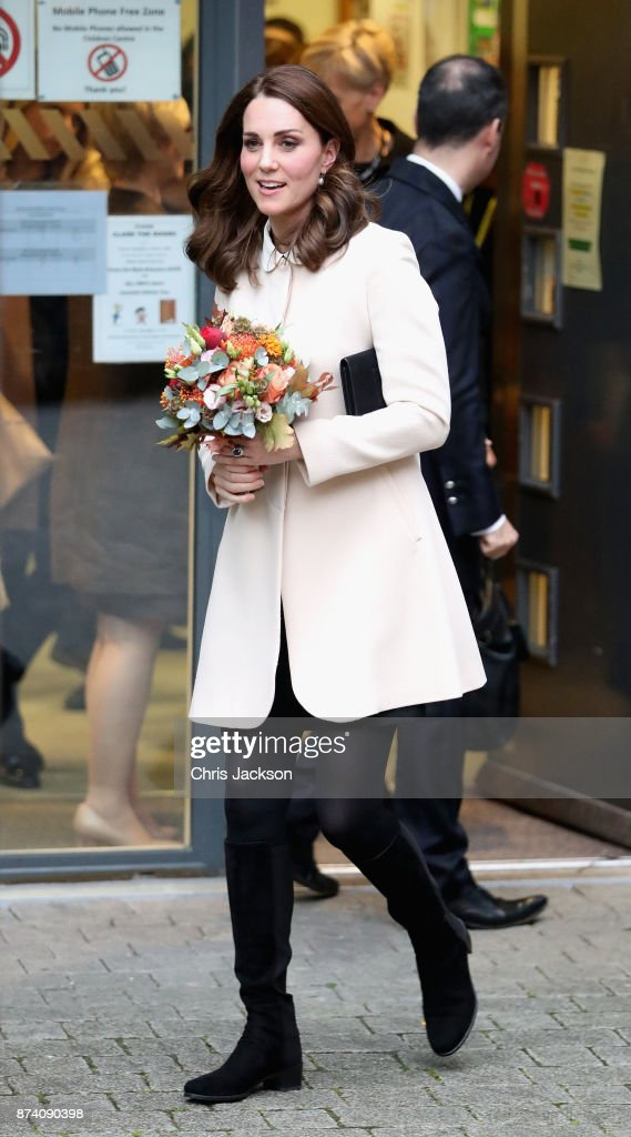 Catherine, Duchess of Cambridge departs after visiting Family Action at Hornsey Road Children's Centre on November 14, 2017 in London, England.