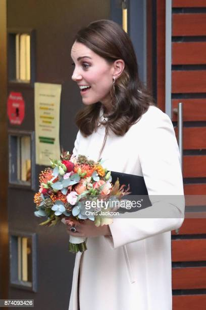 Catherine Duchess of Cambridge departs after visiting Family Action at Hornsey Road Children's Centre on November 14 2017 in London England