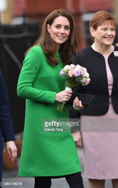 Catherine Duchess of Cambridge departs after visiting Lavender Primary School in support of Place2Be's Children's Mental Health Week 2019 in Enfield...