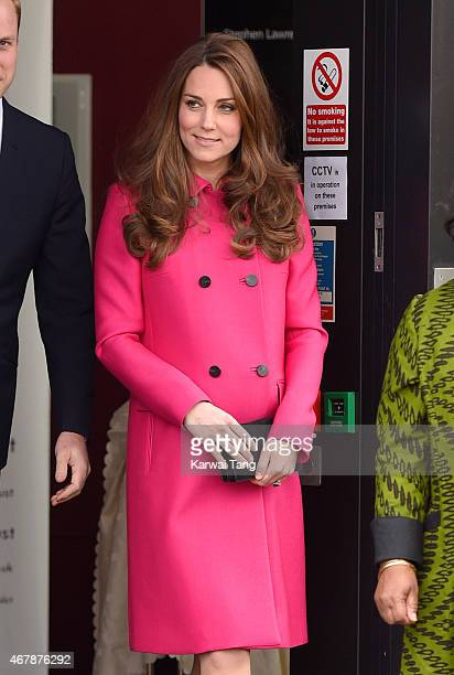 Catherine Duchess of Cambridge departs after visiting the Stephen Lawrence Centre Deptford where she toured the facilities and met with Charitable...