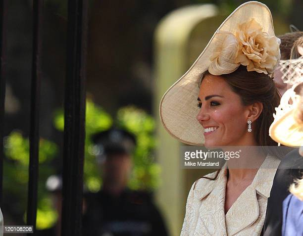 Catherine Duchess of Cambridge departs for the Royal wedding of Zara Phillips and Mike Tindall at Canongate Kirk on July 30 2011 in Edinburgh Scotland