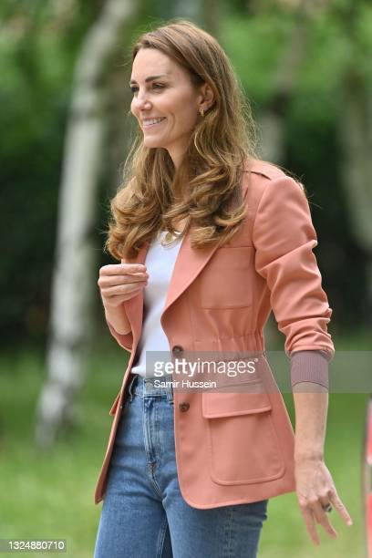 Catherine, Duchess of Cambridge departs from Natural History Museum after her visit to the urban nature project on June 22, 2021 in London, England.