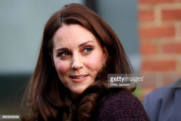 Catherine Duchess of Cambridge departs from the 'Magic Mums' community Christmas party held at Rugby Portobello Trust on December 12 2017 in London...