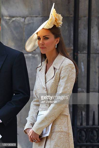 Catherine Duchess of Cambridge departs from the Royal wedding of Zara Phillips and Mike Tindall at Canongate Kirk on July 30 2011 in Edinburgh...