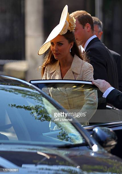 Catherine, Duchess of Cambridge departs from the Royal wedding of Zara Phillips and Mike Tindall at Canongate Kirk on July 30, 2011 in Edinburgh,...