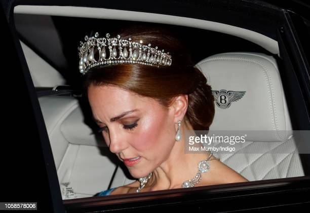 Catherine, Duchess of Cambridge departs Kensington Palace to attend a State Banquet at Buckingham Palace on day one of King Willem-Alexander of the...