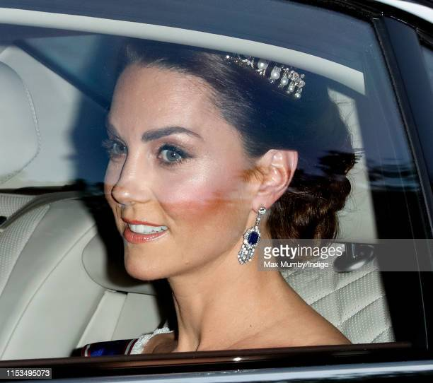 Catherine, Duchess of Cambridge departs Kensington Palace to attend a State Banquet at Buckingham Palace on day 1 of US President Donald Trump's...