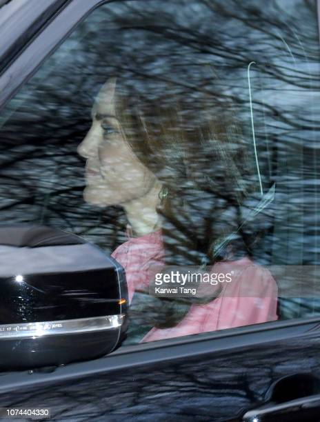 Catherine Duchess of Cambridge departs Kensington Palace to attend the Queen's Christmas lunch at Buckingham Palace on December 19 2018 in London...