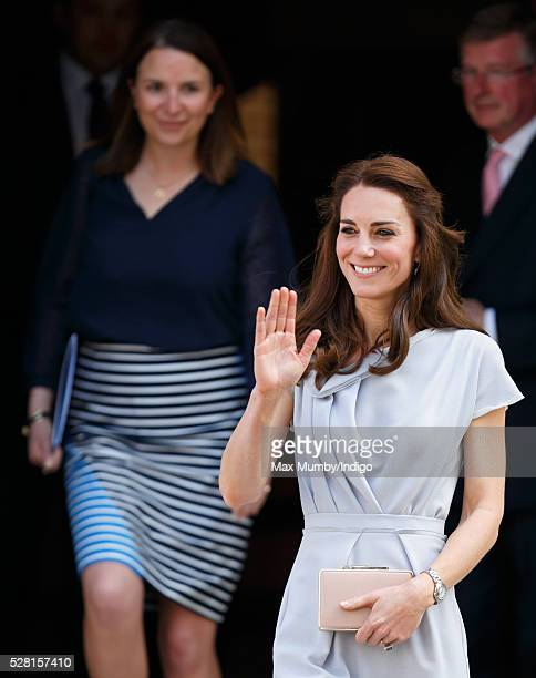 Catherine Duchess of Cambridge departs Spencer House after attending a lunch in aid of The Anna Freud Centre on May 4 2016 in London England