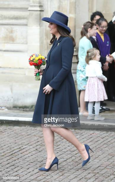 Catherine Duchess of Cambridge departs the 2018 Commonwealth Day service at Westminster Abbey on March 12 2018 in London England