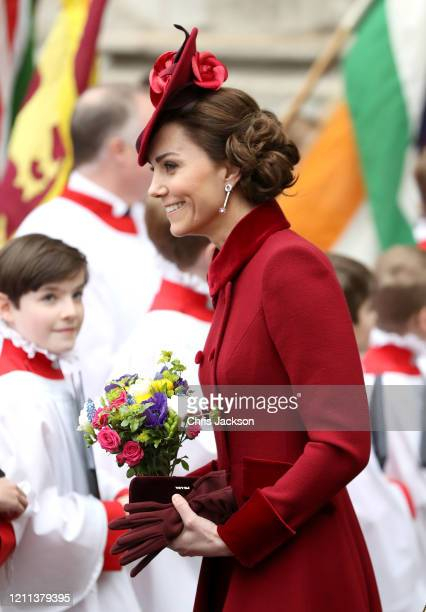 Catherine, Duchess of Cambridge, departs the Commonwealth Day Service 2020 at Westminster Abbey on March 09, 2020 in London, England. The...