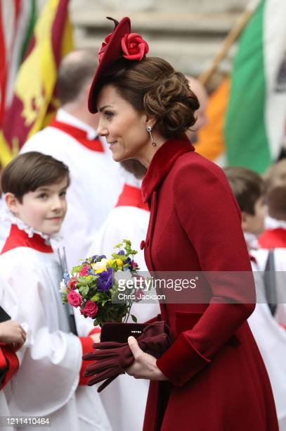 Catherine, Duchess of Cambridge departs the Commonwealth Day Service 2020 at Westminster Abbey on March 09, 2020 in London, England. The Commonwealth...