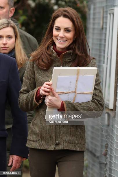 Catherine Duchess of Cambridge departs the Islington Community Garden on January 15 2019 in London United Kingdom