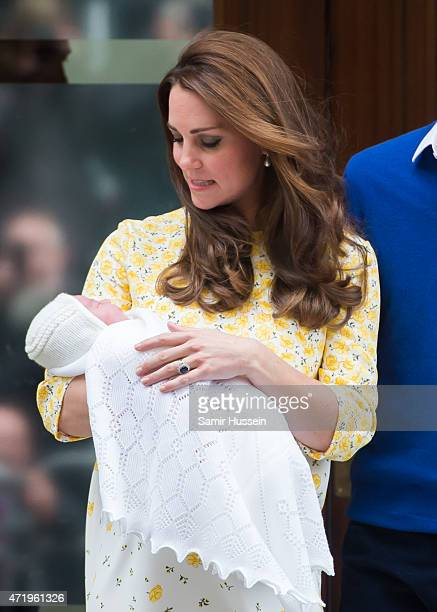 Catherine Duchess of Cambridge departs the Lindo Wing with her newborn baby at St Mary's Hospital on May 2 2015 in London England