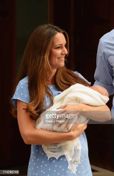 Catherine, Duchess of Cambridge departs The Lindo Wing with her newborn son at St Mary's Hospital on July 23, 2013 in London, England. The Duchess of...