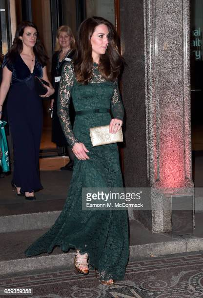 Catherine, Duchess of Cambridge departs the Portrait Gala 2017 at the National Portrait Gallery on March 28, 2017 in London, England.