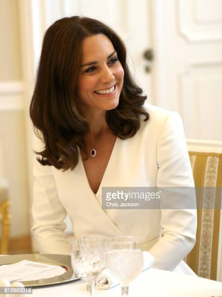 Catherine Duchess of Cambridge during a reception as the Duchess and Prince William Duke of Cambridge attend the Presidential Palace on day 1 of...