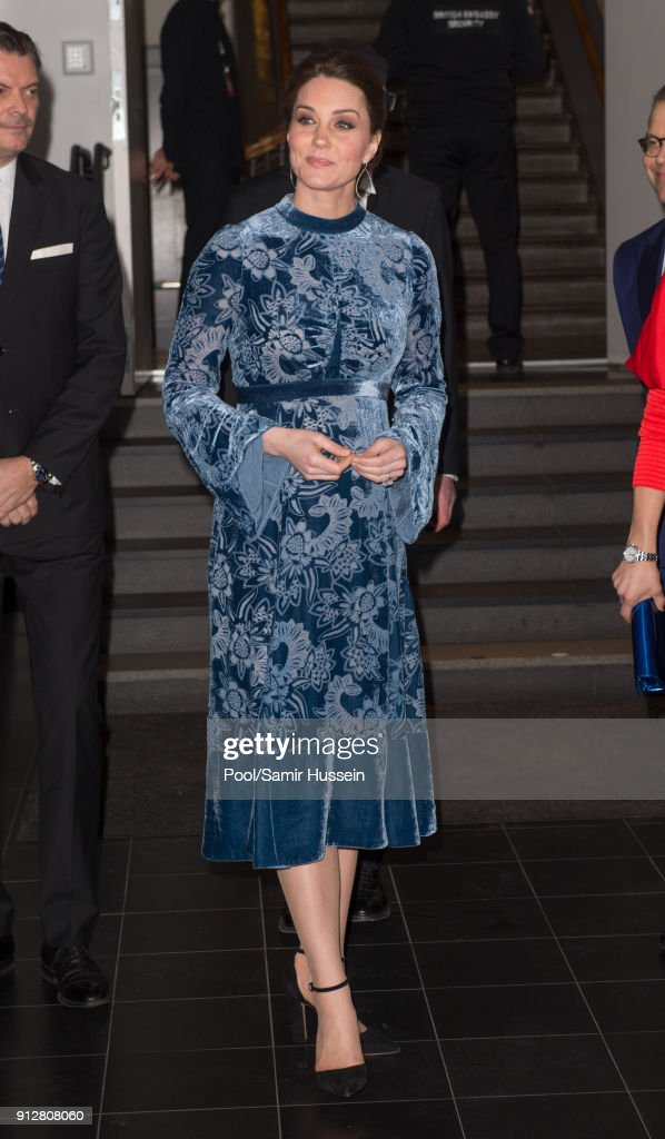 Catherine, Duchess of Cambridge during a reception to celebrate Swedish culture at the Fotografiska Gallery on day two of their royal visit to Sweden and Norway on January 31, 2018 in Stockholm, Sweden. on January 31, 2018 in Stockholm, Sweden.