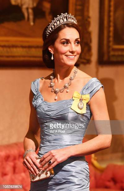 Catherine, Duchess of Cambridge during a State Banquet at Buckingham Palace on October 23, 2018 in London, United Kingdom. King Willem-Alexander of...
