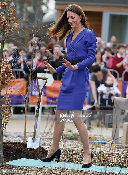 Catherine Duchess of Cambridge during a tree planting ceremony whilst on a visit to open The Treehouse Children's Hospice on March 19 2012 in Ipswich...