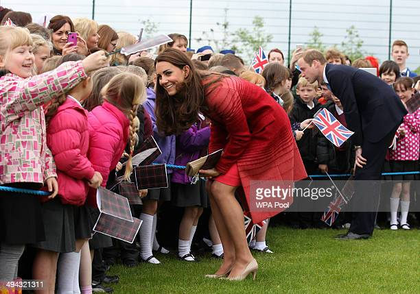 Catherine Duchess of Cambridge during a visit to Strathearn Community Campus on May 29 2014 in Crieff Scotland The Duke and Duchess of Cambridge will...