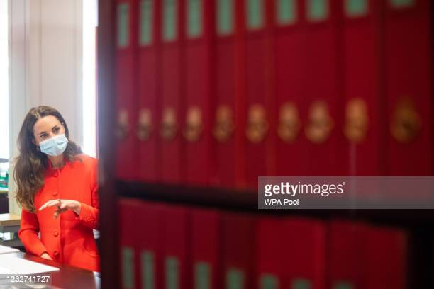 Catherine, Duchess of Cambridge during a visit to the archive in the National Portrait Gallery in central London to mark the publication of the 'Hold...