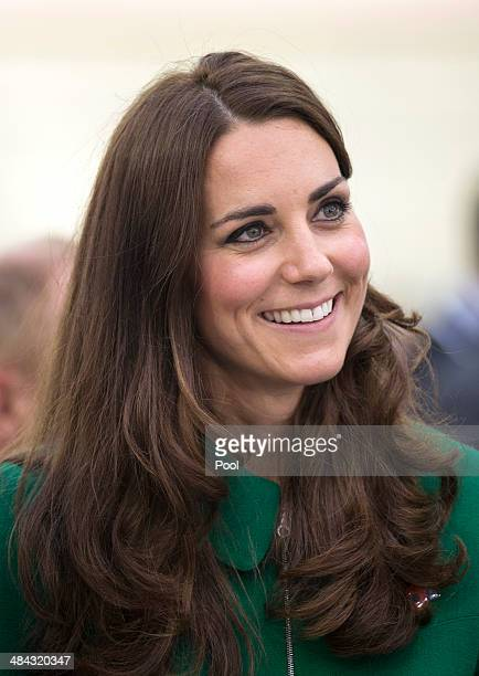 Catherine, Duchess of Cambridge during a visit to the Avantidrome on April 12, 2014 in Hamilton, New Zealand. The Duke and Duchess of Cambridge are...