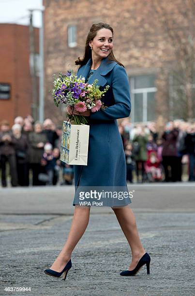 Catherine Duchess of Cambridge during a visit to the 'Emma Bridgewater' pottery factory to view the production of a mug that the company has launched...